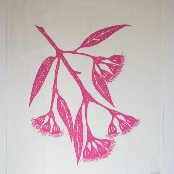kitchen dish cloth pink gum blossom tea towel